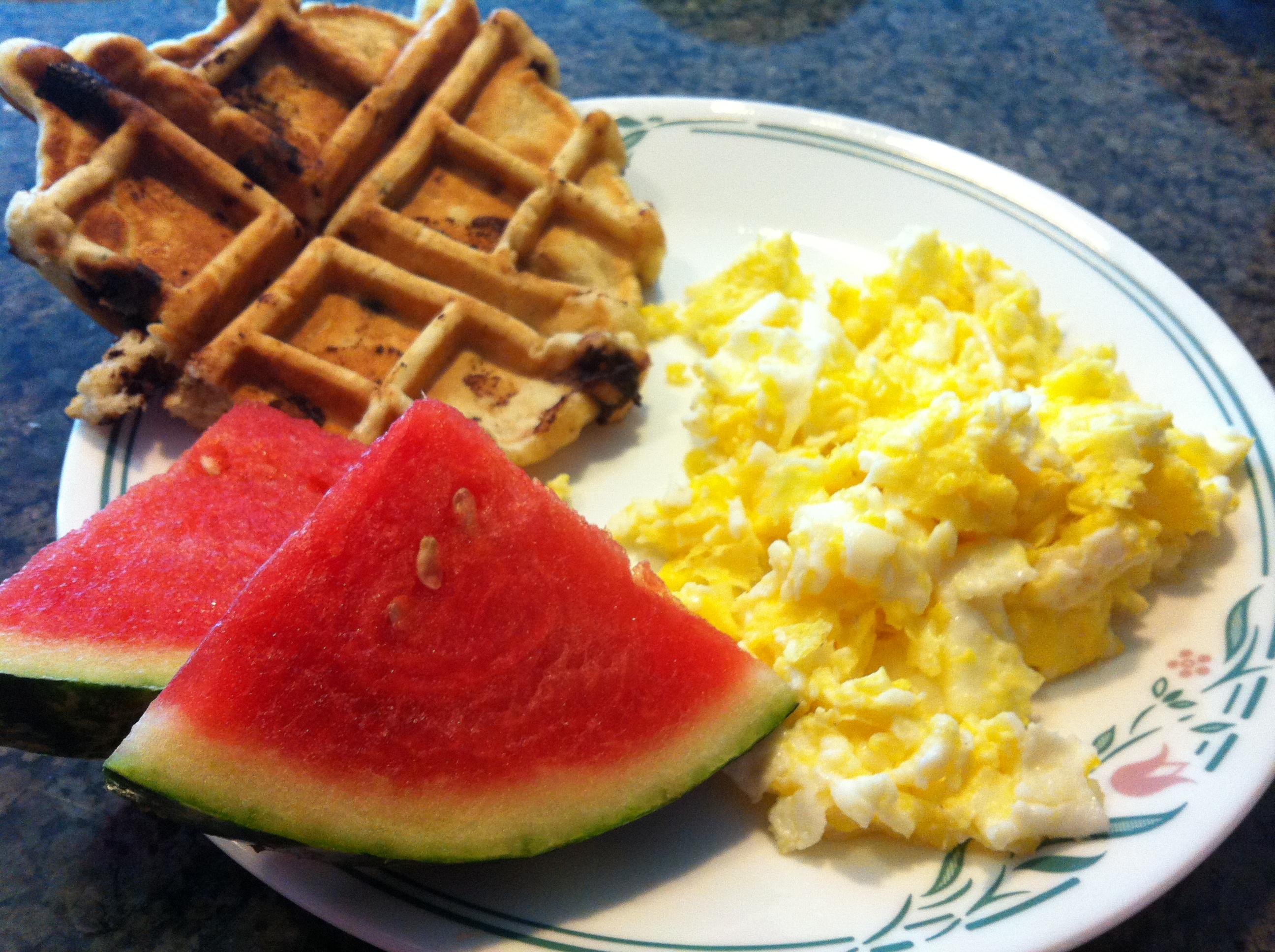 Waffles, eggs and fruit for dinner