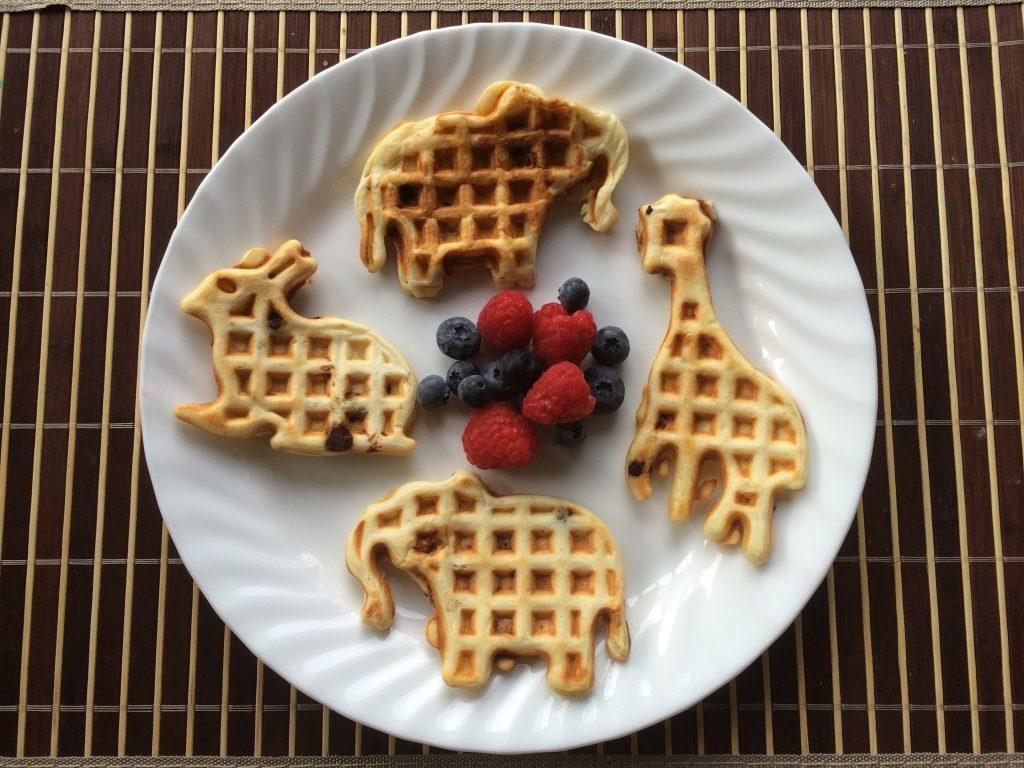 Banana Chocolate Chip Waffles - animal shapes