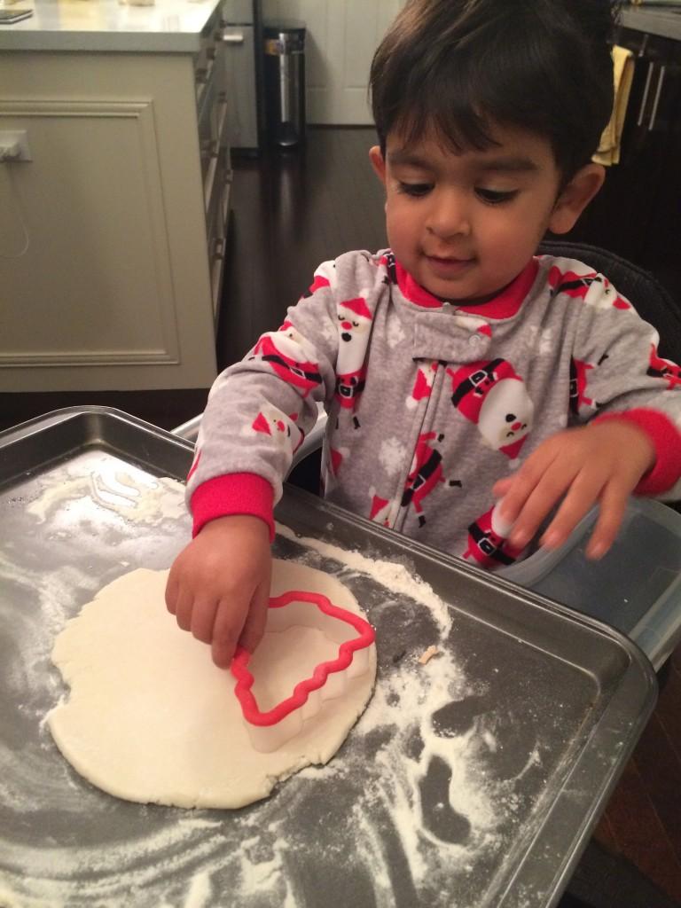 Kamran cutting salt dough shapes