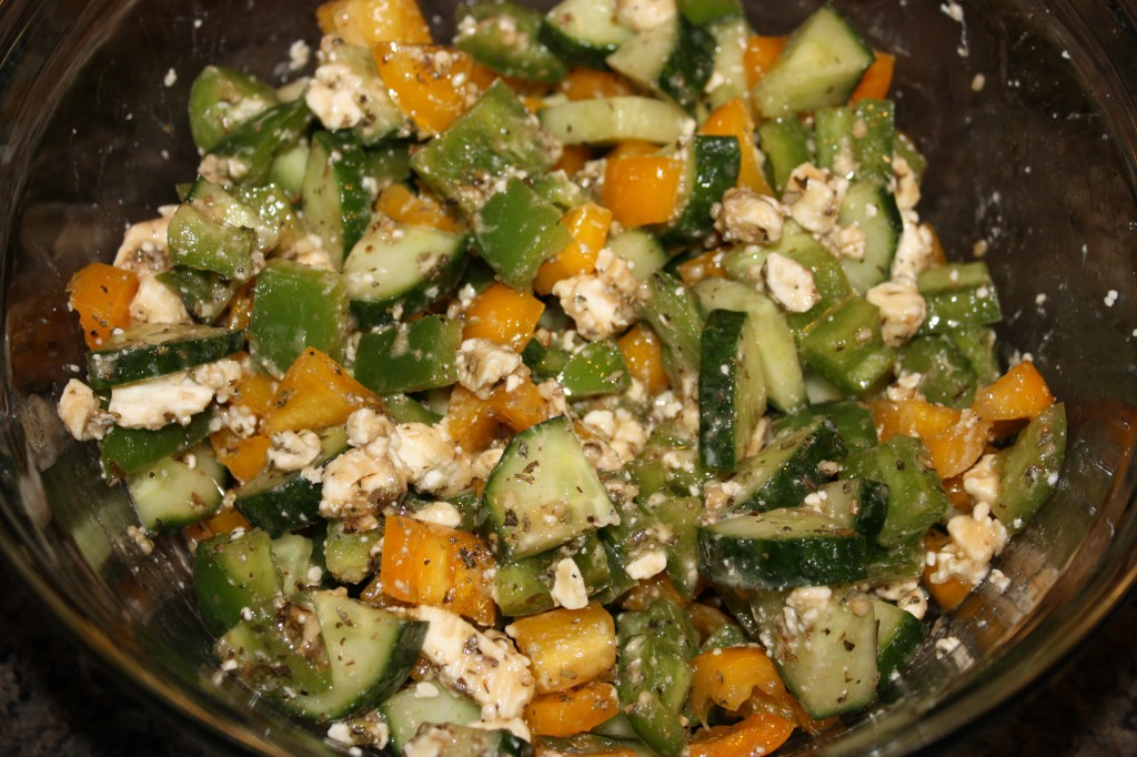 Greek Quinoa mixed ingredients