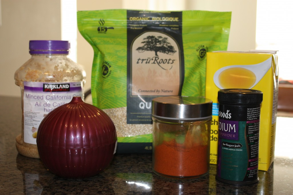 Curried quinoa ingredients