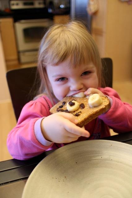 Enjoying teddy bear toast