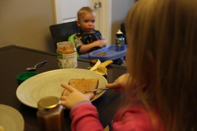 teddy bear toast - step slice bananas