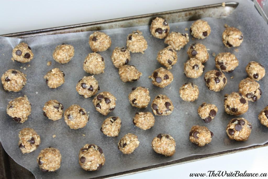 granola balls on a tray