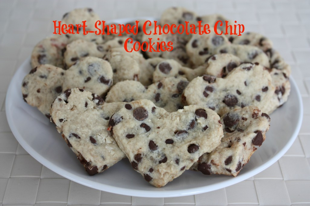 heart-shaped chocolate chip cookies