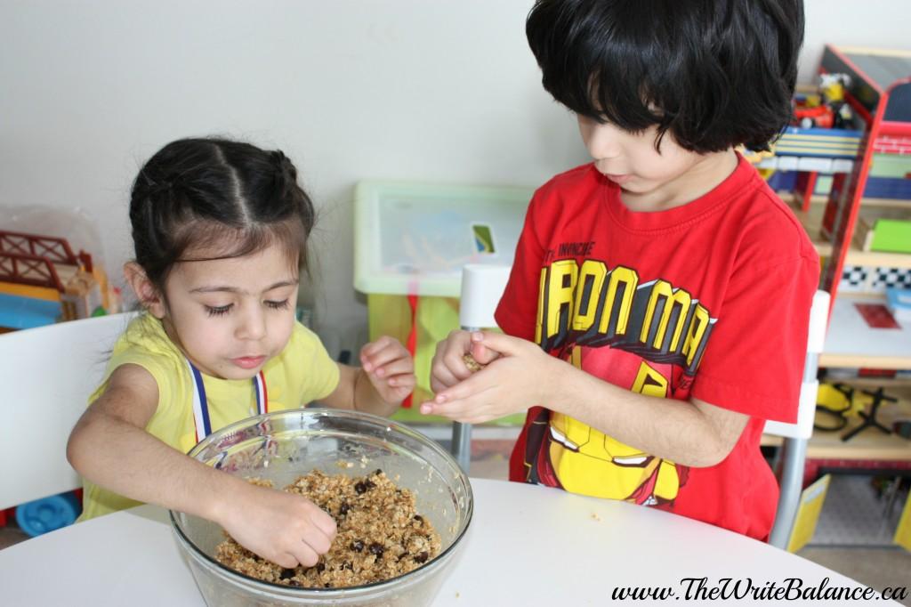 shaping granola balls