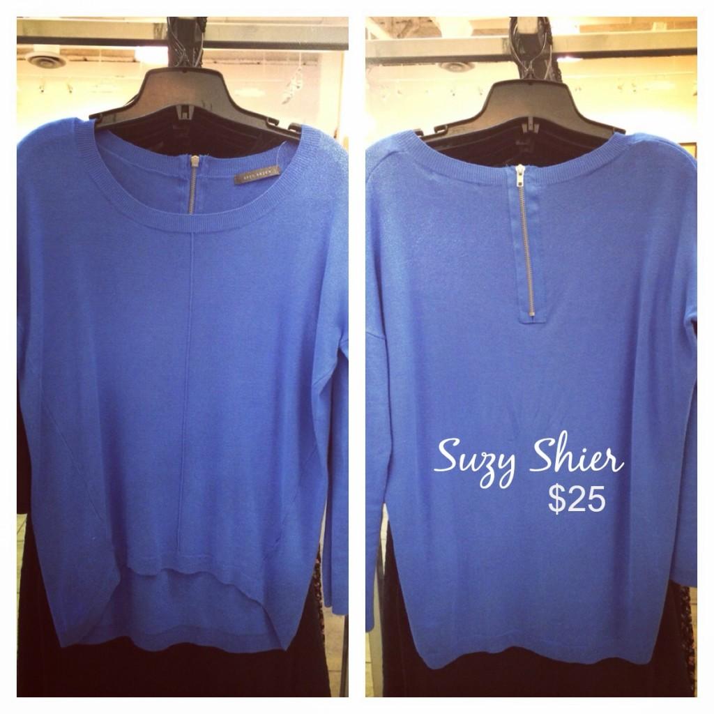 suzy shier blue shirt