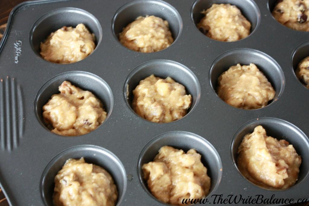 banana muffins in tins