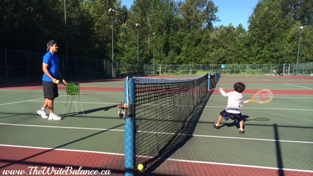 Keyan playing tennis July '14