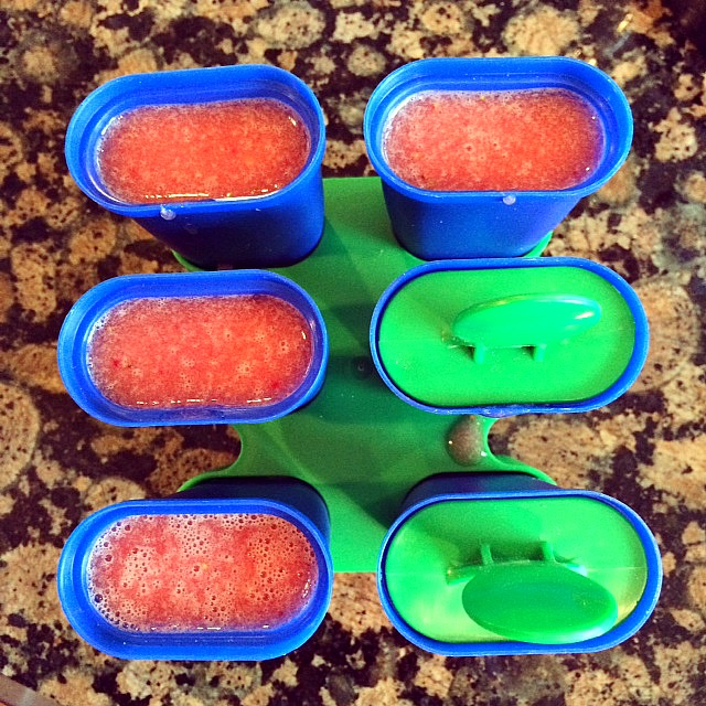 melon popsicles ready for freezer