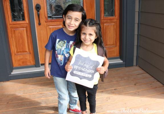 Kyah 1st day preschool with Keyan