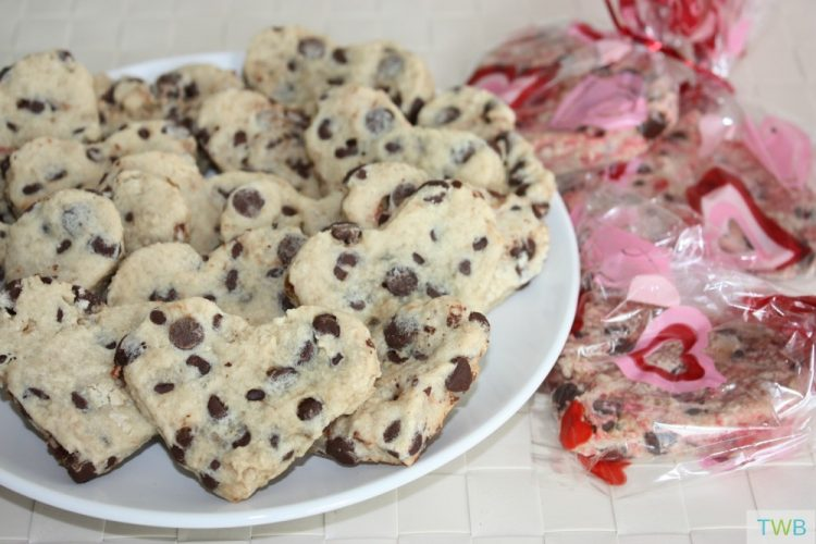 Heart Shaped Chocolate Chip Cookies