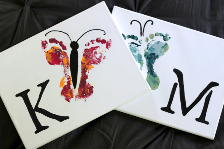 Spring Crafts and activities - butterfly footprint