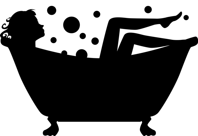 Woman in tub silhouette 2