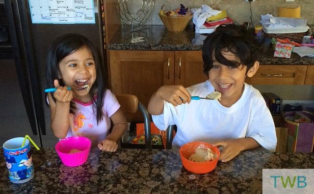 The kids eating 'ice cream' for breakfast