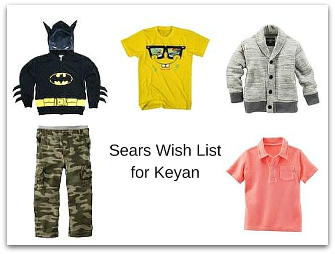 Sears Wish List for Keyan