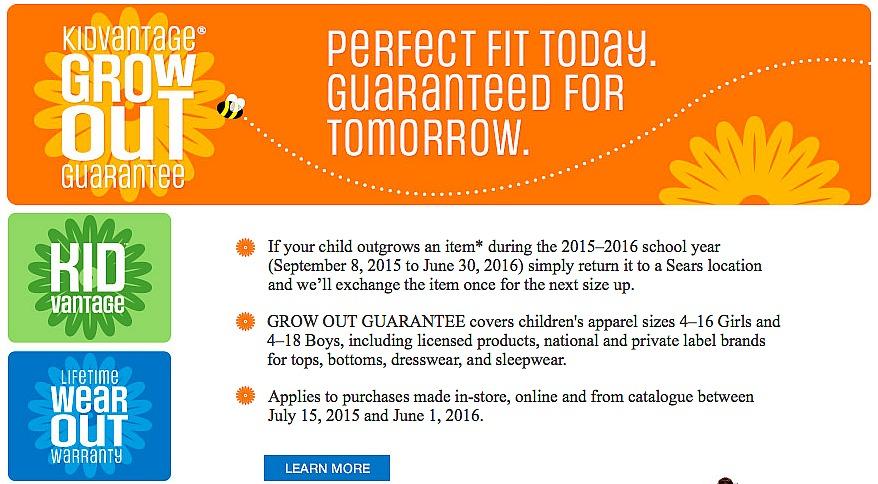 kidvantage grow out guarantee
