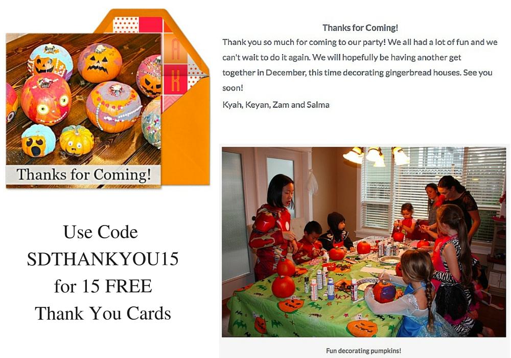 Evite Thank You Card