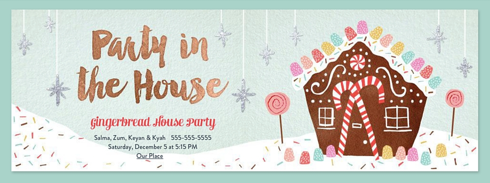 Gingerbread House Party Evite Invitation