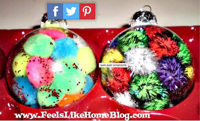 Homemade Ornaments - Pom pom Ornaments