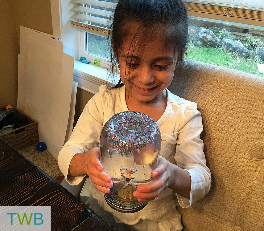 Homemade Snow Globe - shaking it