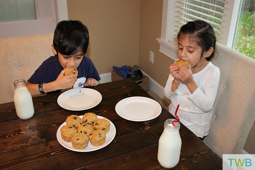 Kids Eating Peanut Butter Breakfast Muffins