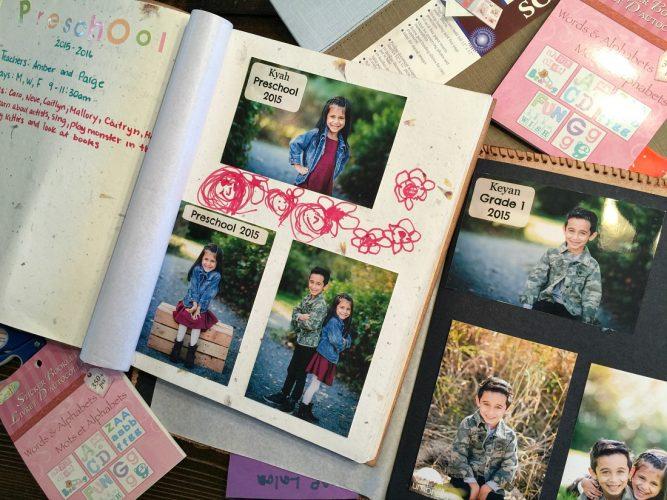 Scrapbook with School photos - feature