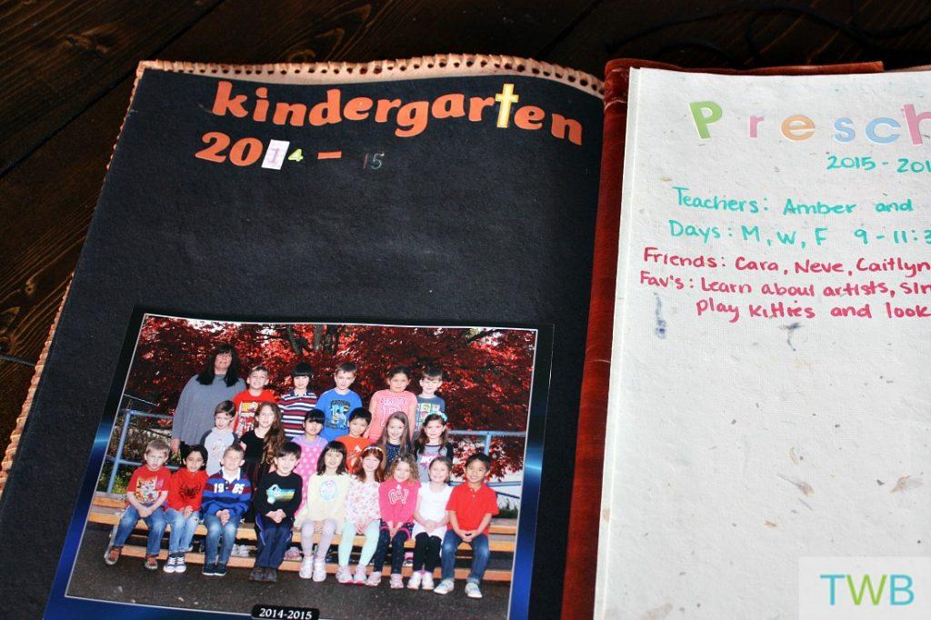 scrapbook with school class photo