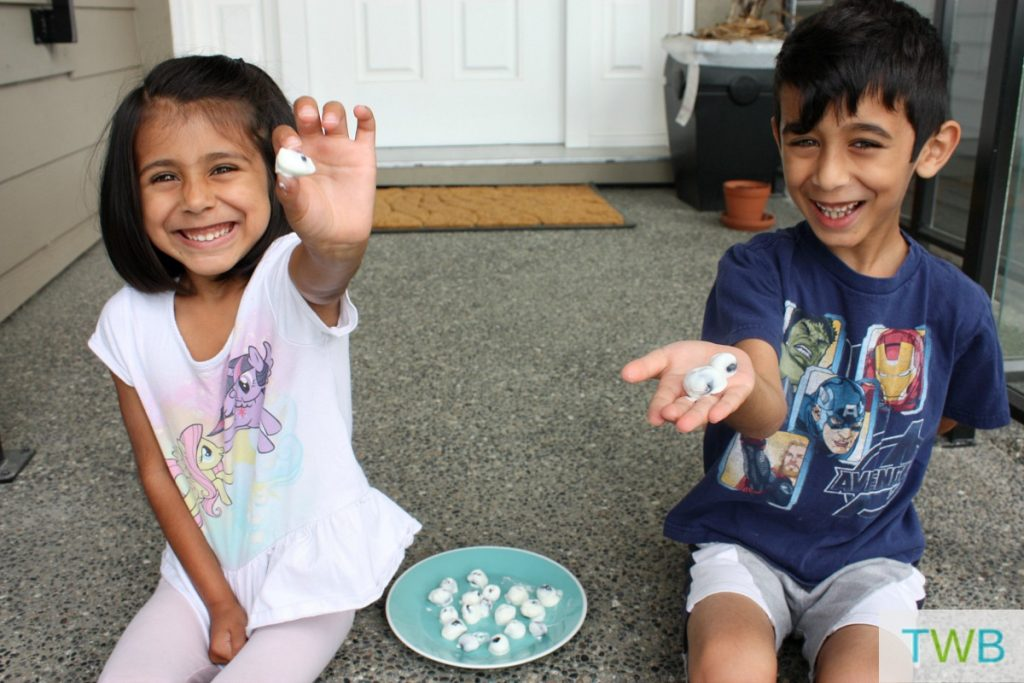 Yogurt Covered Blueberries - kids eating