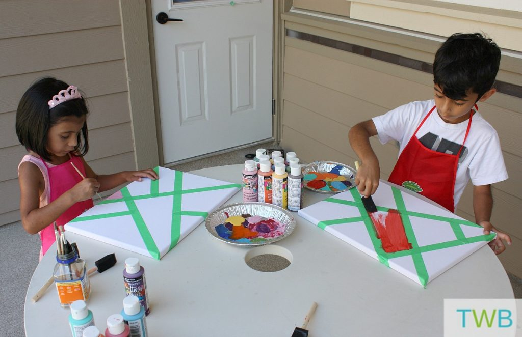5 Ways to Keep the kids busy without TV - Tape painting