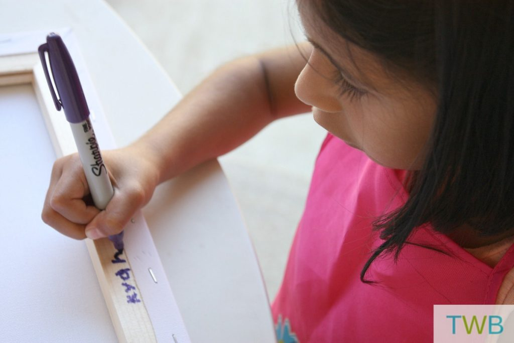 tape painting - writing your name